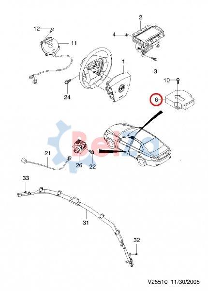 EPICA (V250).  Каталог запчастей Chevrolet.  Электрооборудование.  1. кабель а-спиральный ,CK 200801-200812.  VIN.